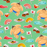 Sumo pattern. Seamless pattern with sumo wrestlers and Japanese symbols Royalty Free Stock Photo