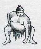 Sumo pencil sketch royalty free stock images