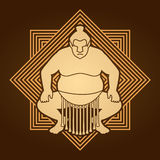 Sumo pose ready to fight. Graphic vector Stock Photography
