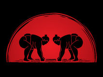 Sumo. Prepare to fight designed on sunrise background graphic vector Royalty Free Stock Photo
