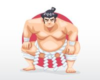 Sumo standing in crouch stance with red circle as background illustration. Serious face Sumo standing in crouch stance with red circle as background illustration Stock Images