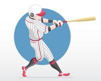 Flat style baseball player in full swing action illustration vector illustration