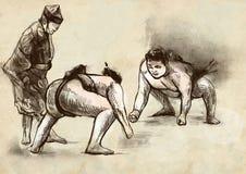 sumo Un'illustrazione disegnata a mano 100% nella caloria illustrazione vettoriale