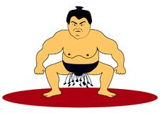 Sumo wrestler character vector illustration. Sumo wrestler on red circle vector illustration Royalty Free Stock Images