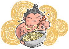 Sumo wrestler eating noodle Stock Photo