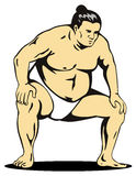 Sumo wrestler fighting stance. Vector art on the sport of sumo wrestling Stock Photo