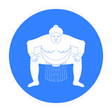 Sumo wrestler icon in black style isolated on white background. Japan symbol stock vector illustration. Royalty Free Stock Photo