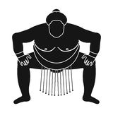 Sumo wrestler icon in black style isolated on white background. Japan symbol Royalty Free Stock Image