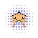 Sumo wrestler icon, comics style. Sumo wrestler icon in comics style on a white background Stock Photography