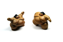 Sumo wrestlers. Two big sumo wrestlers ready to fight royalty free stock photography