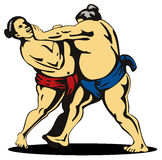 Sumo wrestlers fighting Stock Photo