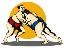 Sumo wrestlers grappling Stock Photos