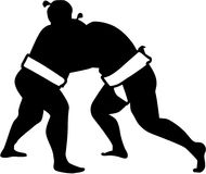 Sumo wrestling fight silhouette. Vector Royalty Free Stock Photography