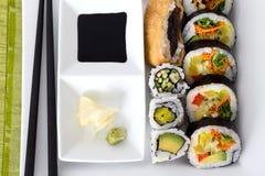 Sumomaki sushis. Sumomaki vegeterian sushis on plate Stock Photography