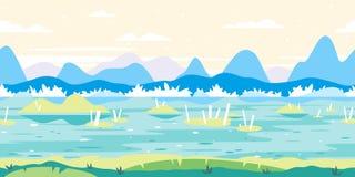 Sumpf-Spiel-Hintergrund-flache Landschaft