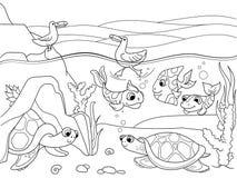 Sumpfgebietlandschaft mit den Tieren, die Vektor für Erwachsene färben Stockbild