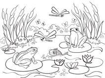 Sumpfgebietlandschaft mit den Tieren, die Vektor für Erwachsene färben Stockfotografie