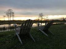 Sumpfsonnenuntergänge im Louisiana-Sumpf Stockbilder