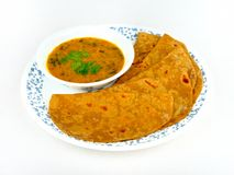 Sumptuous Chapatti and Dal meal. Sumptuous Indian Chapati Roti and Dal vegan meal Royalty Free Stock Photos