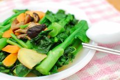 Sumptuous Chinese vegetarian cuisine. Sumptuous, home cooked Chinese vegetarian cuisine. Ingredients include green, leafy vegetables, mushrooms, carrots, and Stock Images