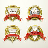 Sumptuous gold and jewelry labels design Royalty Free Stock Images