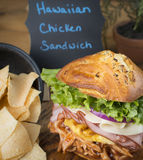 Sumptuous Hawaiian Chicken Sandwich With Chips Stock Photo