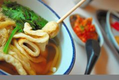 Sumptuous looking Japanese udon with fish cake. Sumptuous looking Japanese udon prepared in a Korean restaurant Stock Photos