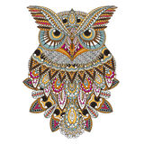 Sumptuous owl. Coloring page in exquisite style Royalty Free Stock Images