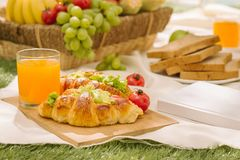 Sumptuous picnic spread out on a red and white checked cloth wit. H wicker basket Stock Image