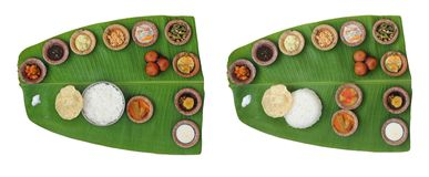 Sumptuous, wholesome indian onam meals (sadhya) Stock Photos