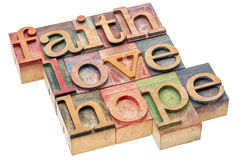 Sumário da palavra da fé, do amor e da esperança Fotos de Stock Royalty Free