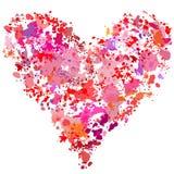 Sumário da pintura do splatter da pintura da forma do coração Imagens de Stock Royalty Free