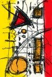 Sumário e arte e pintura e cor Imagens de Stock