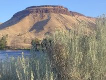 Sumrising Deschutes River reservation royalty free stock photo