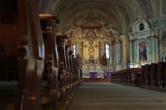 Sumuleu Church. Inside of Sumuleu Church , Transylvania. Artistic shoot. Photo taken on: March 16. 2015 royalty free stock photos
