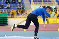 SUMY UKRAINA - FEBRUARI 17, 2017: Rimma Hordiienko - mästare i femkamp av ukrainsk inomhus friidrott Royaltyfria Foton