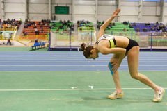 SUMY, UKRAINE - FEBRUARY 17, 2017: Asya Bardis - 2nd in pentathlon of Ukrainian indoor track and field championship 2017 Royalty Free Stock Photos