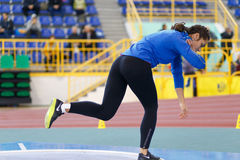 SUMY, UKRAINE - FEBRUARY 17, 2017: Rimma Hordiienko - champion in pentathlon of Ukrainian indoor track and field Royalty Free Stock Photos