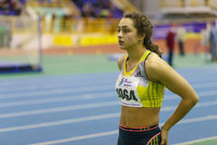 SUMY, UKRAINE - FEBRUARY 17, 2017: Rimma Hordiienko - winner in pentathlon of Ukrainian indoor track and field Stock Photos