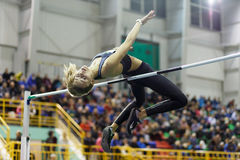 SUMY, UKRAINE - FEBRUARY 18, 2017: Yuliia Levchenko got silver medal in High Jump competition of Ukrainian indoor track Stock Photo