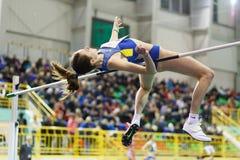 SUMY, UKRAINE - FEBRUARY 18, 2017: Yuliya Chumachenko got bronze medal in High Jump competition of Ukrainian indoor. Track and field championship 2017 Stock Photo