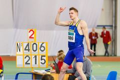 SUMY, UKRAINE - JANUARY 28, 2018: Vadym Kravchuk wins in high jump competition on Ukrainian indoor track and field team. Championship 2018 with result 2.15m Stock Photo