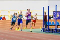 SUMY, UKRAINE - JANUARY 28, 2018: Vitaliy Butrym wins 400m race on Ukrainian indoor track and field team championship. 2018 Stock Images