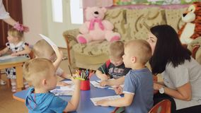 Sumy, Ukraine - Jun 24, 2017: Drawing orphans in an orphanage. stock footage