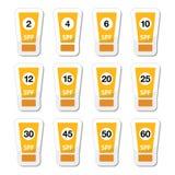 Sun écrèment, sunblock avec le facteur ou icônes de spv réglées Image libre de droits