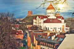 Sun über der Kirche in Vilnius Lizenzfreies Stockfoto