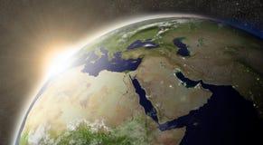Sun über Mittlere Osten lizenzfreie abbildung