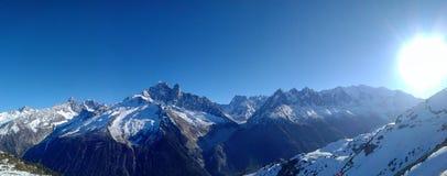 Sun über Mont Blanc Stockfotografie
