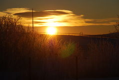 Sun über RadLine Lizenzfreies Stockfoto