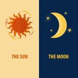 The Sun και το φεγγάρι Διανυσματική απεικόνιση